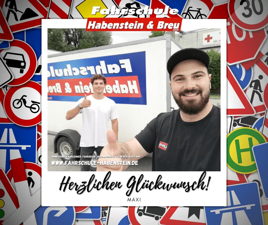 Herzlichen Glückwunsch zur bestandenen Führerscheinprüfung lieber Maxi! Fahrschule - Rosenheim - Motorrad